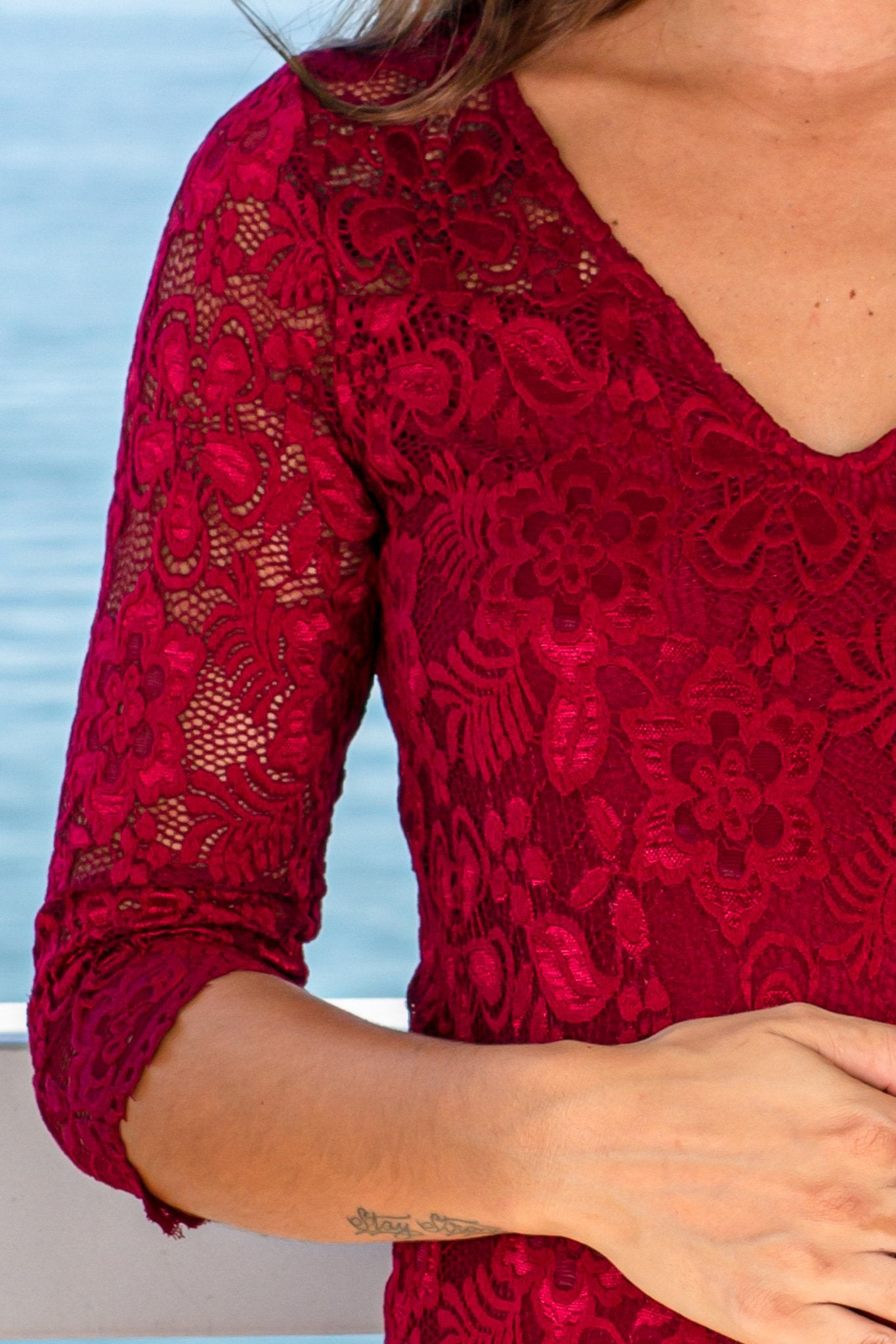 Burgundy Lace Midi Dress