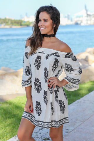 Ivory and Black Printed Off Shoulder Short Dress