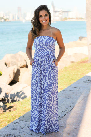 Blue Printed Maxi Dress with Pockets