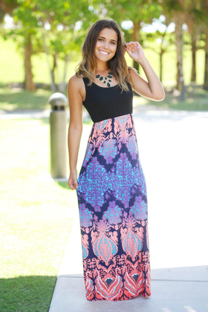 Multicolor Printed Maxi Dress With Black Top
