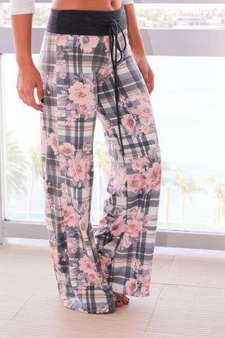 Gray Floral and Plaid Printed Pants