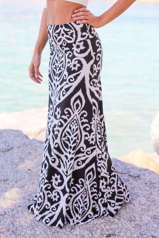 Black and White Printed Maxi Skirt