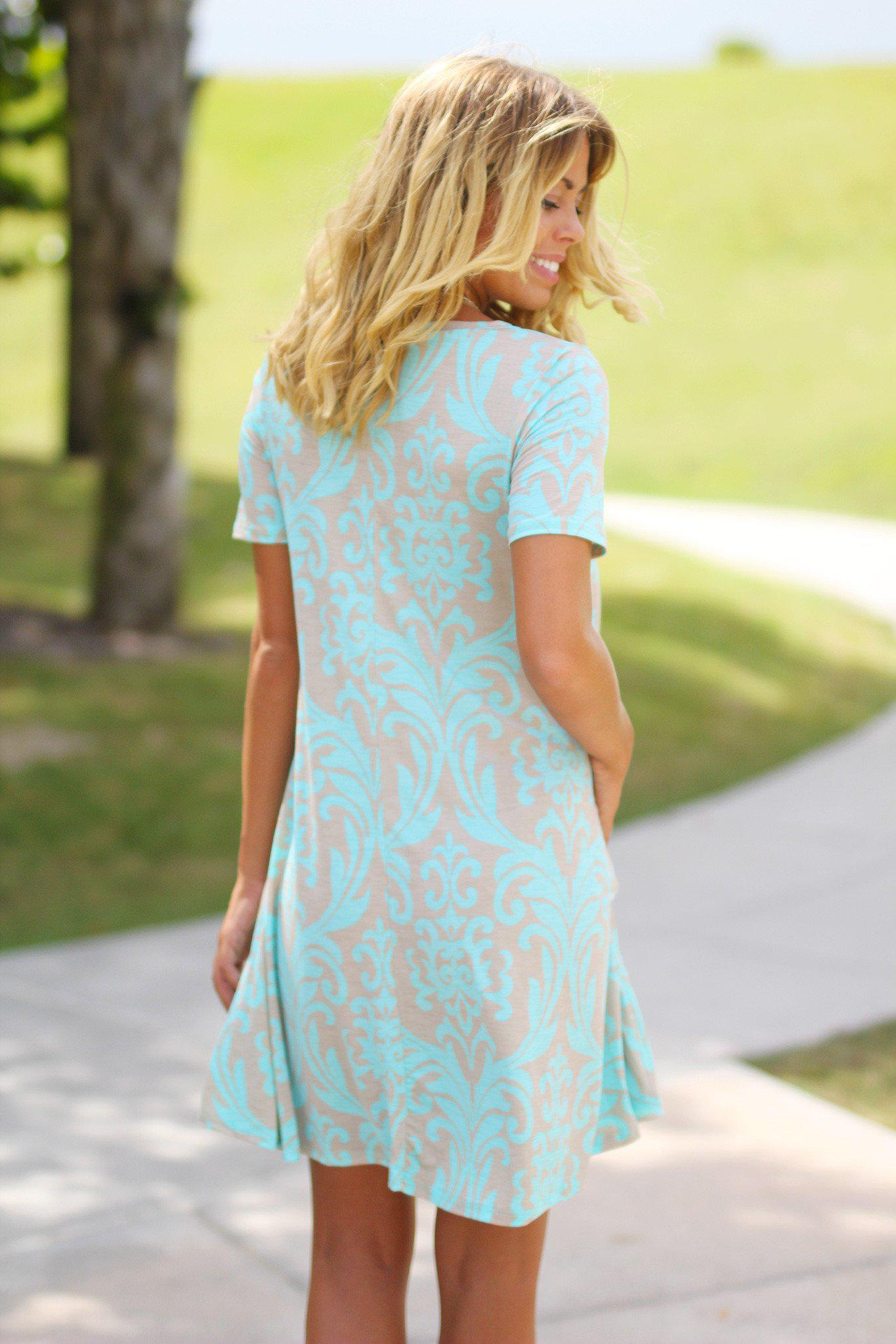 Mint and Taupe Printed Short Dress with Pockets