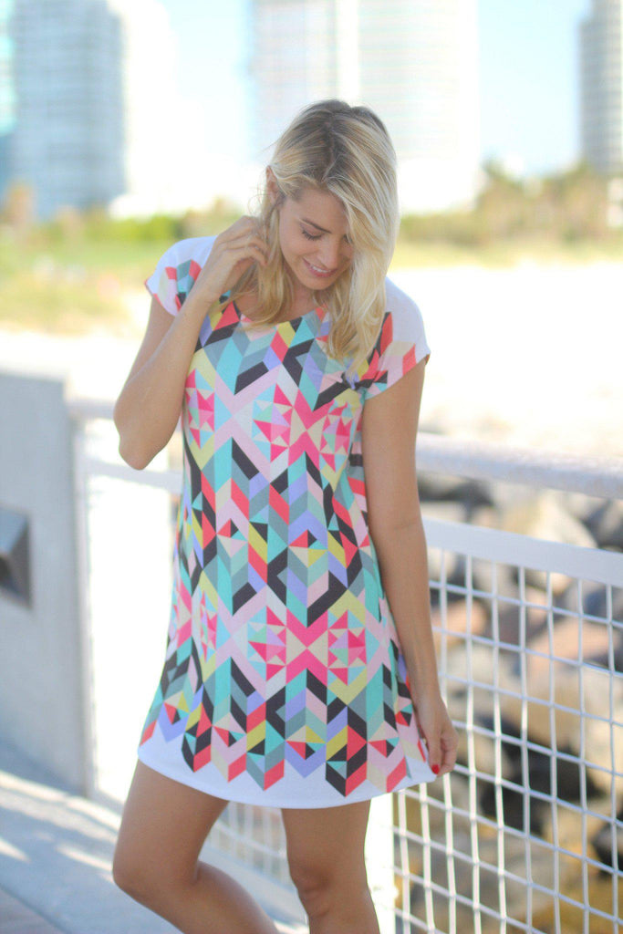 multi color geometric printed dress