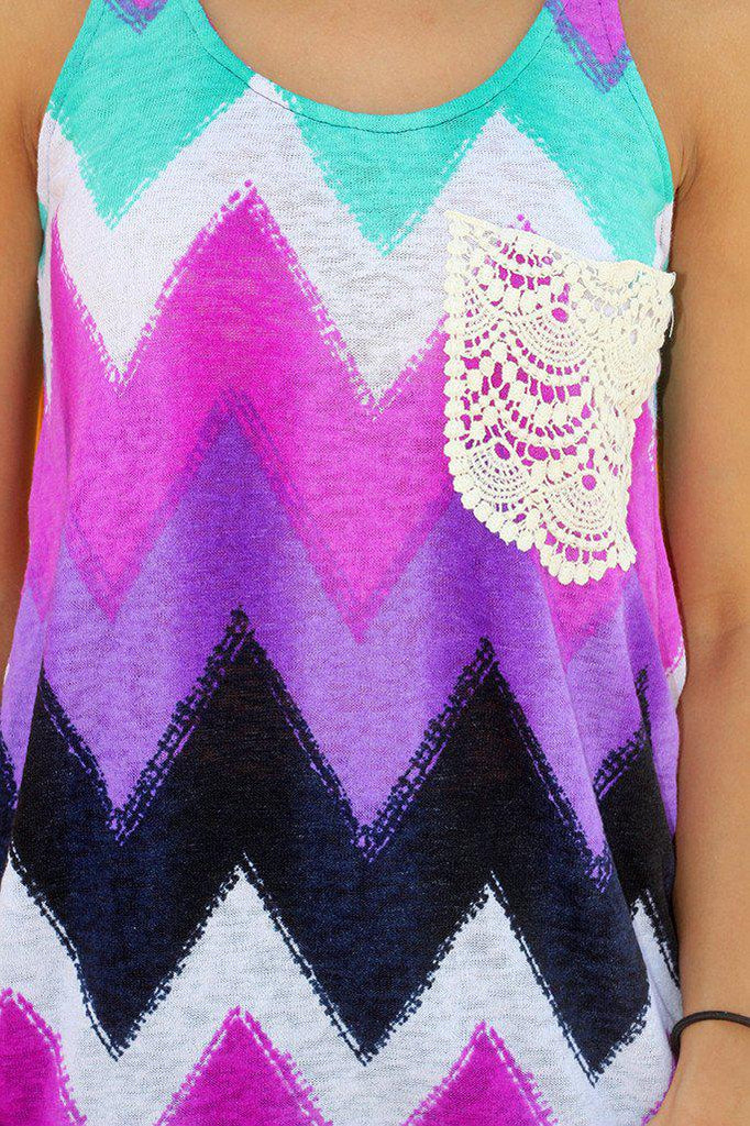 Purple Chevron Top with Pocket