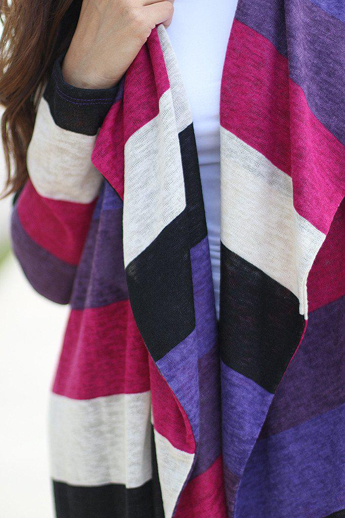 Purple Color Block Cardigan