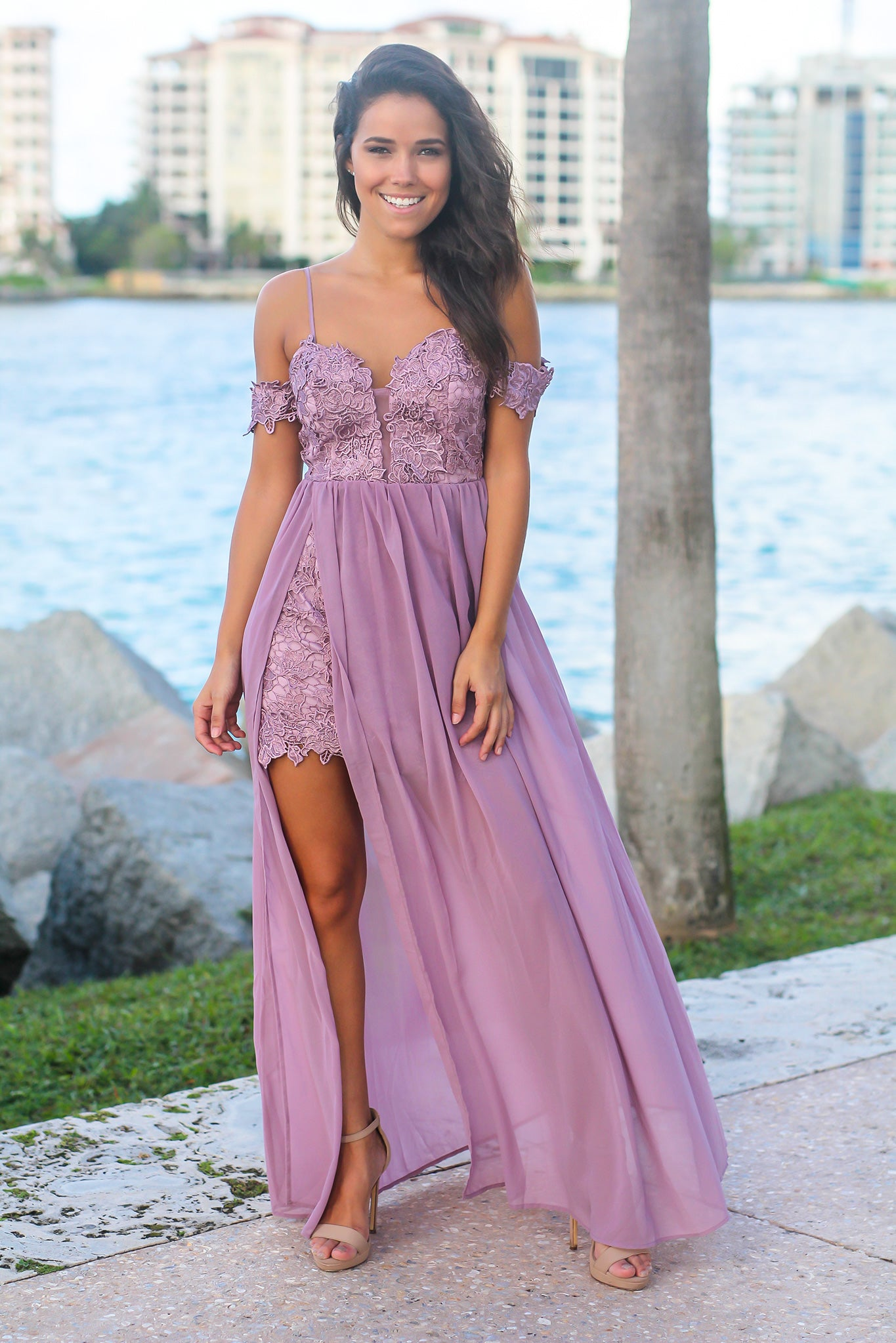 Purple Crochet Top Maxi Dress