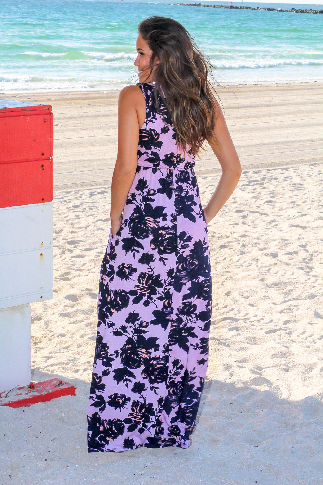Purple Floral Racerback Maxi Dress
