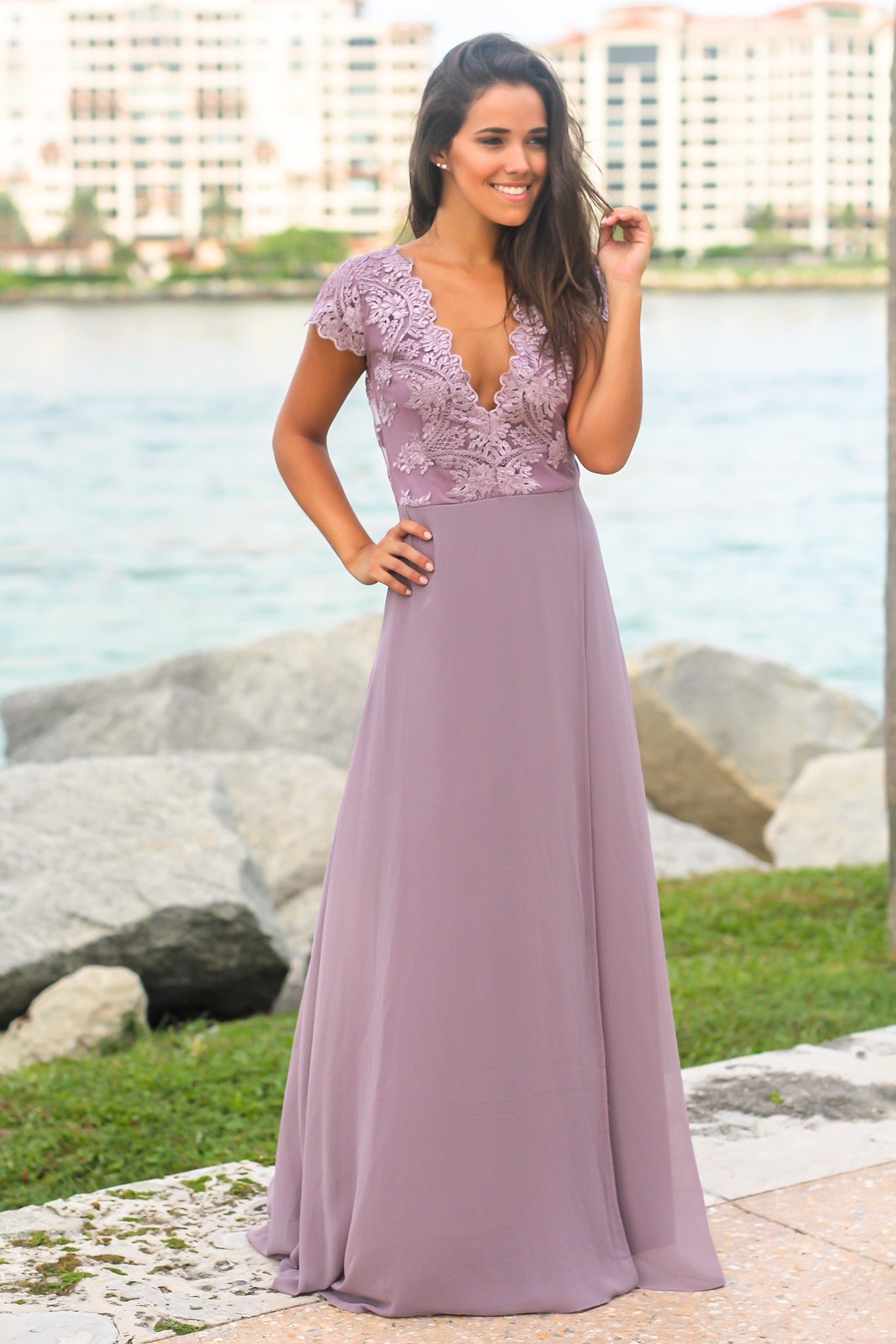 Purple Maxi Dress with Embroidered Top and Slit