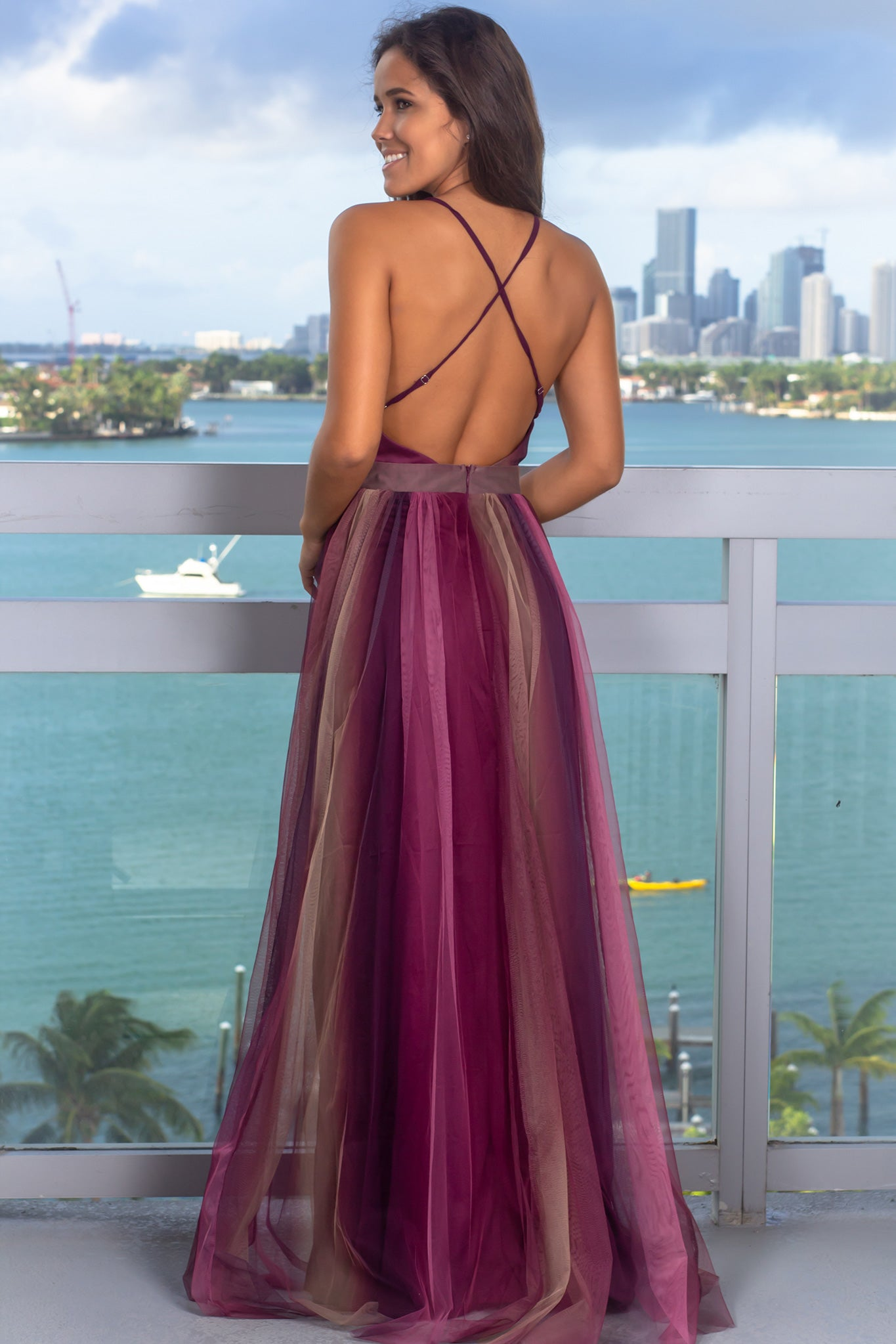 Purple Rainbow Maxi Dress