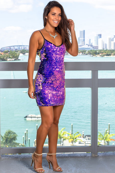 Purple Sequined Short Dress