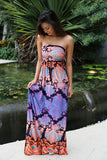 Multicolor Strapless Printed Maxi Dress