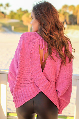 Orchid Open Back Sweater