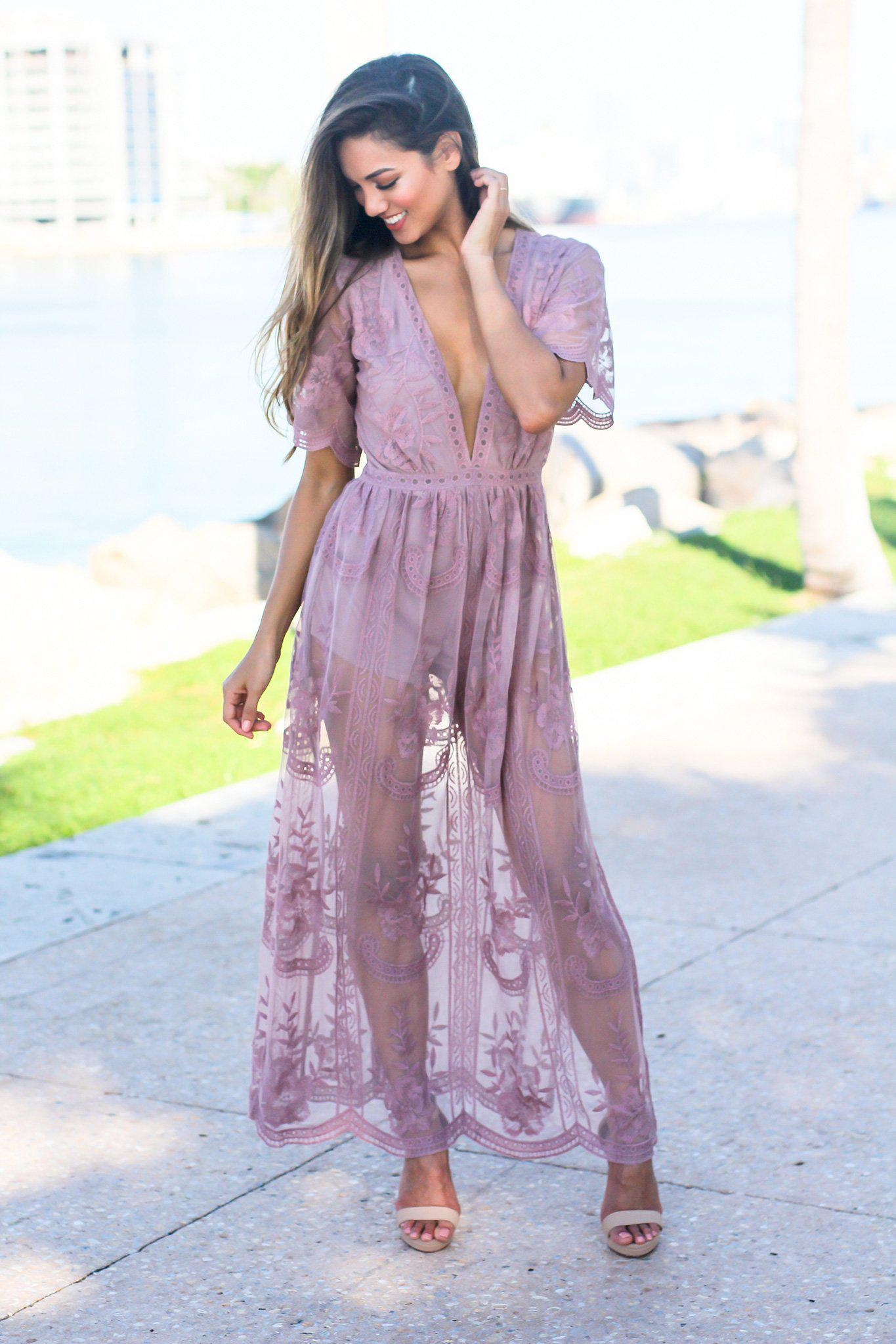 571751656bb9 Purple V-Neck Lace Maxi Romper ...