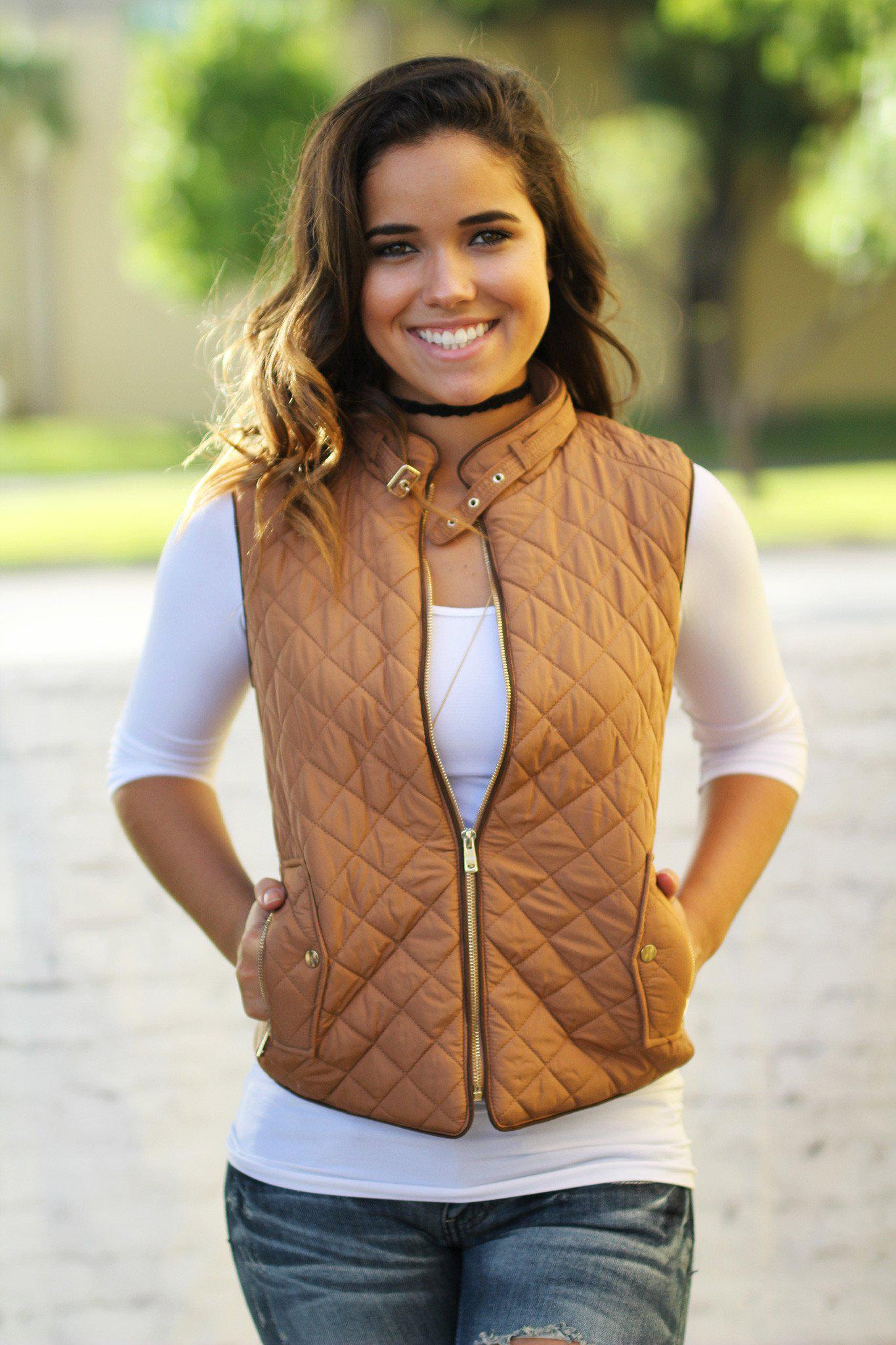 quilted mocha vest