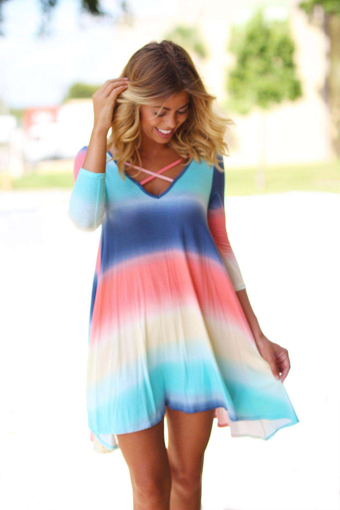 Rainbow Criss Cross Short Dress with Pockets