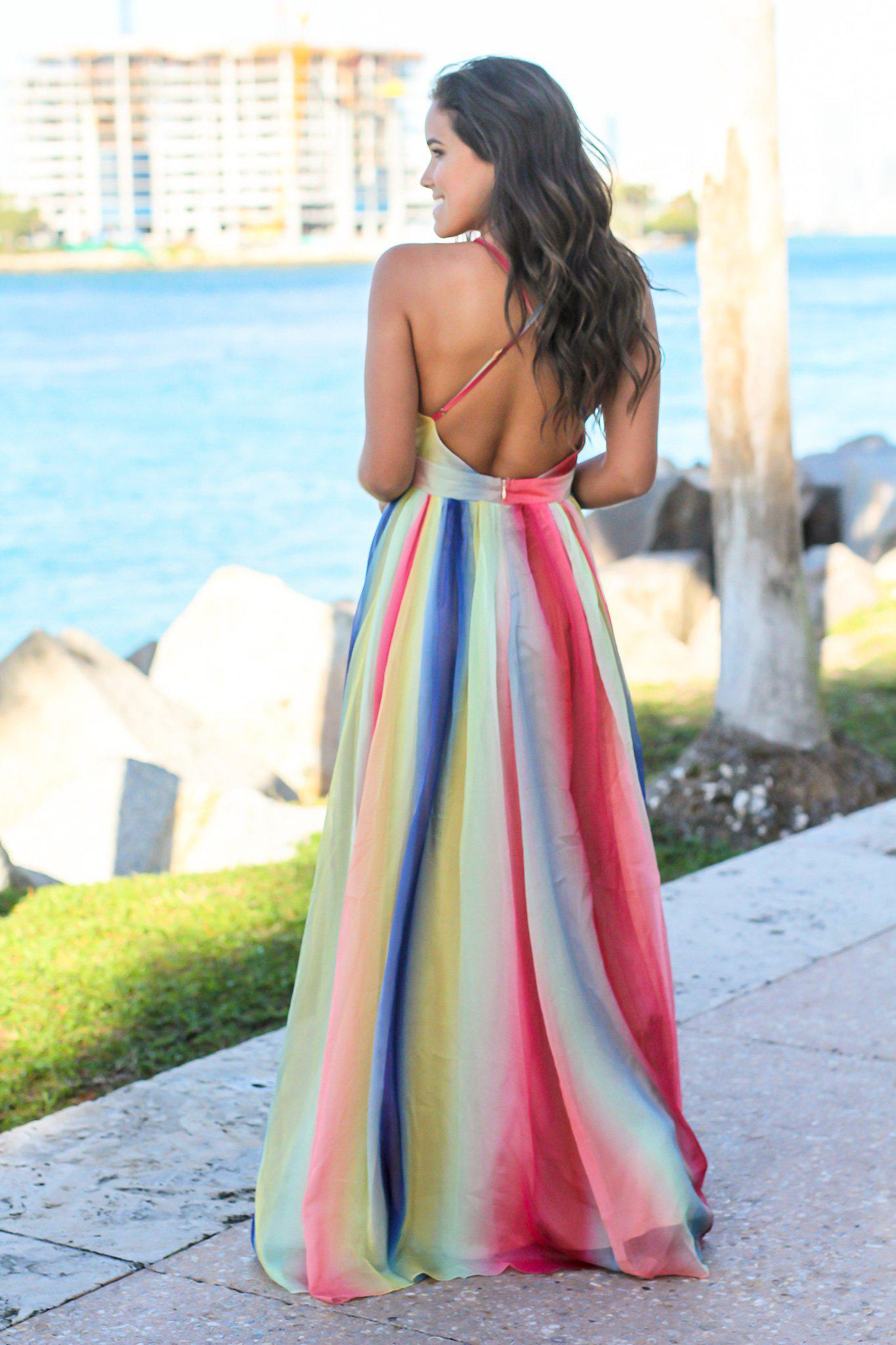 671bcd22f Rainbow Maxi Dress with Criss Cross Back | Maxi Dresses – Saved by ...