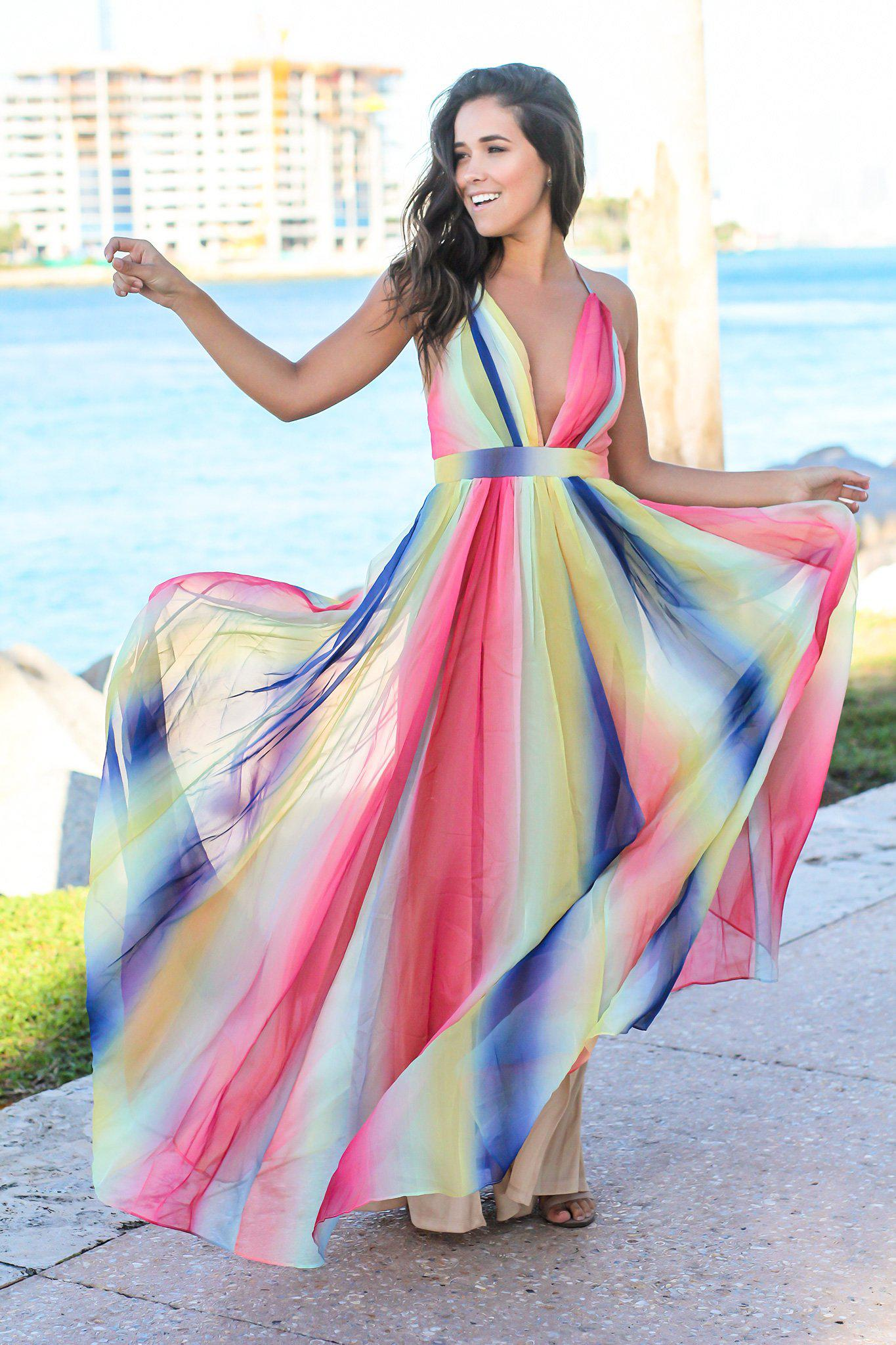 Rainbow Maxi Dress with Criss Cross Back