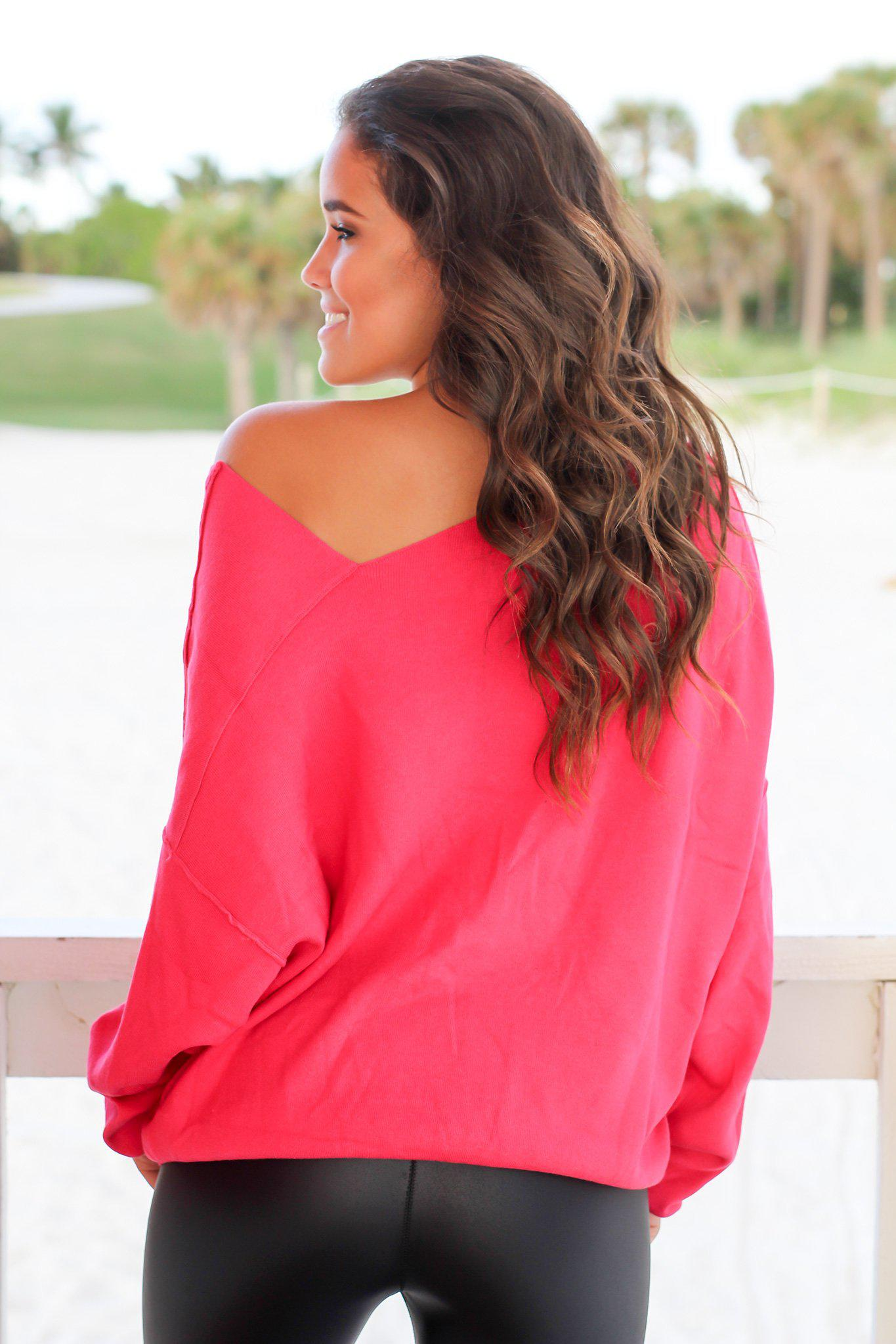 Raspberry Sweater with Asymmetrical Hem