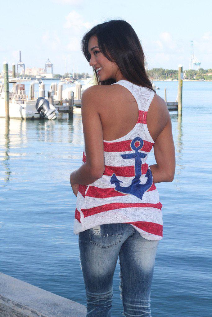 navy and red tank top