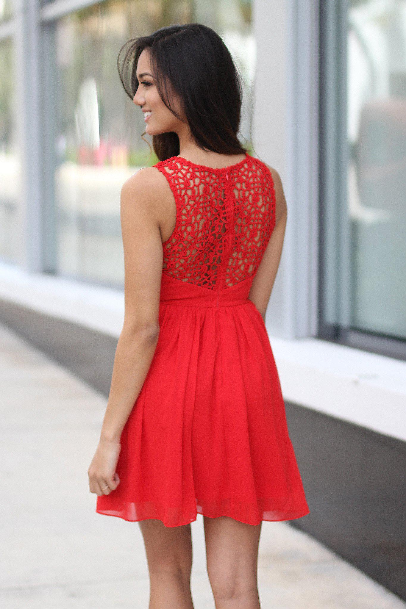 Red Crochet Short Dress