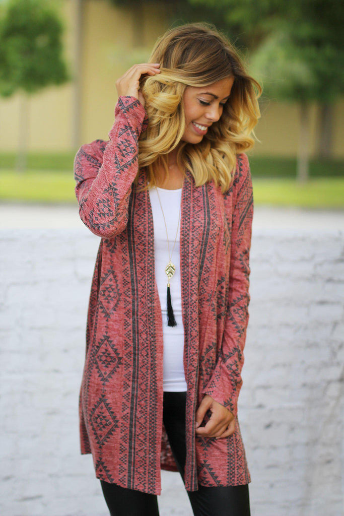 red casual cardigan