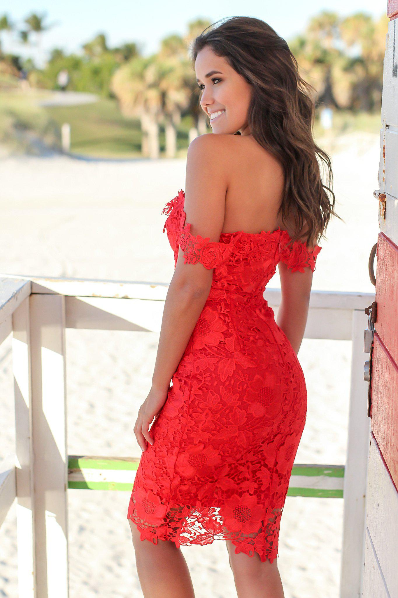 Red Crochet Off Shoulder Short Dress