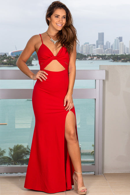 Red Cut Out Maxi Dress with Slit