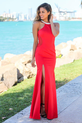 Red Maxi Dress with Tulle Back