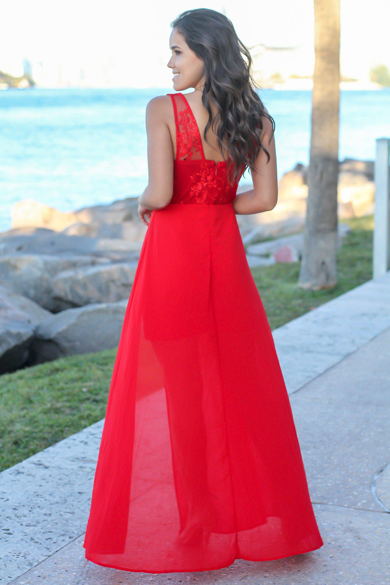 Red Embroidered Maxi Dress with Side Slit