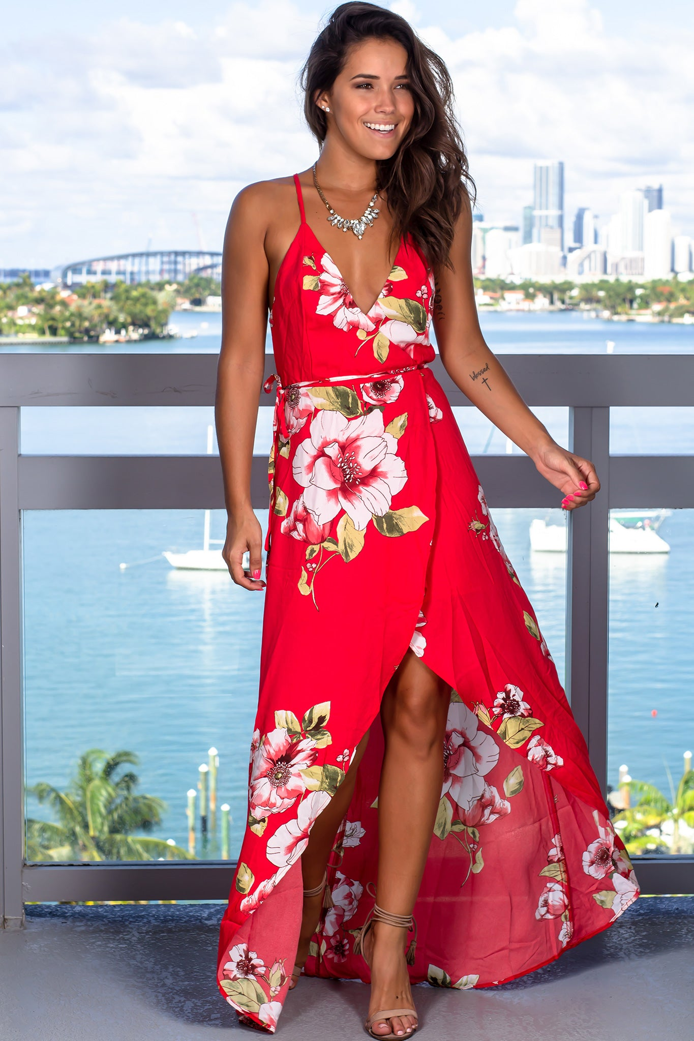 Red Floral High Low Wrap Dress