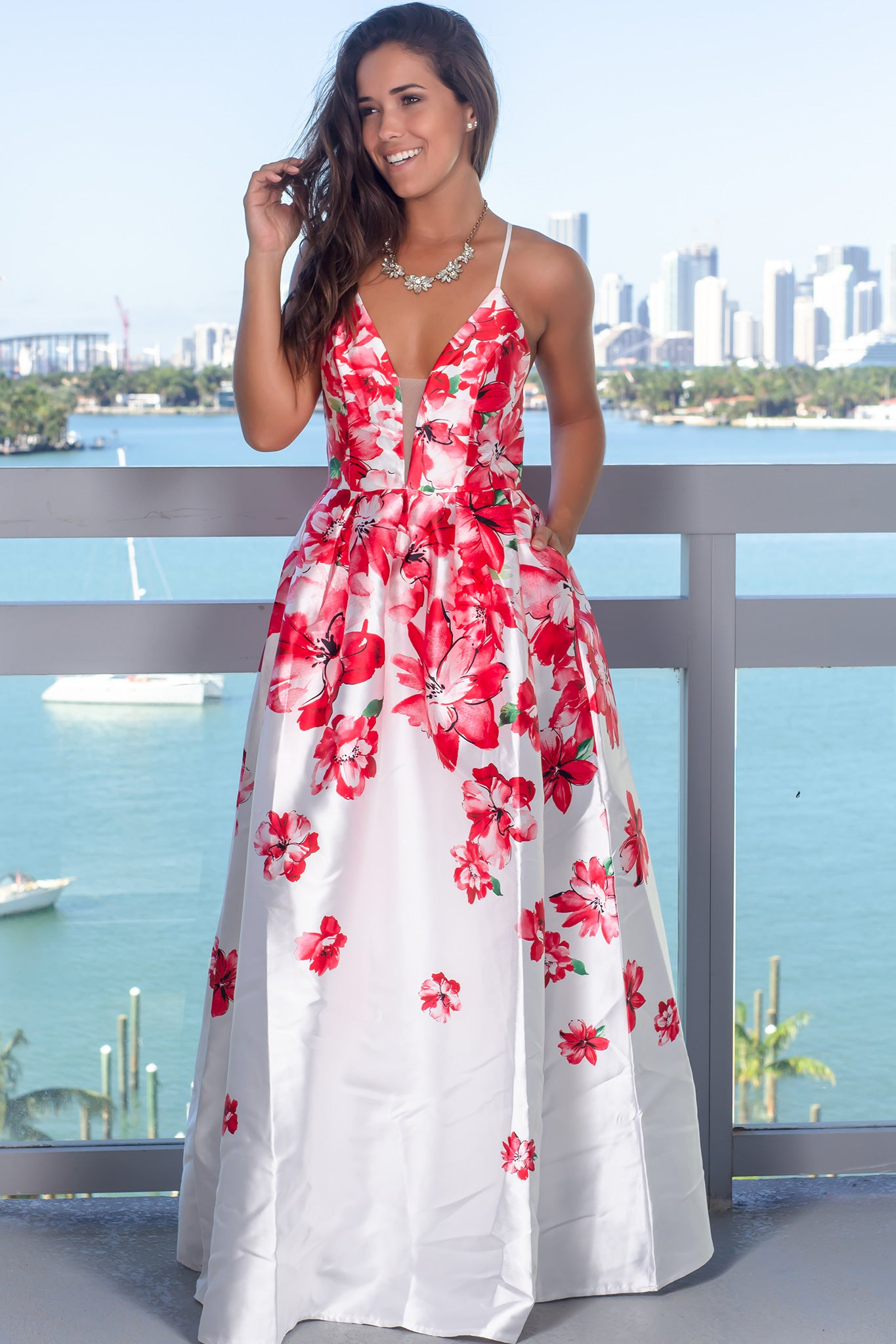 Red Floral Maxi Dress with Pockets