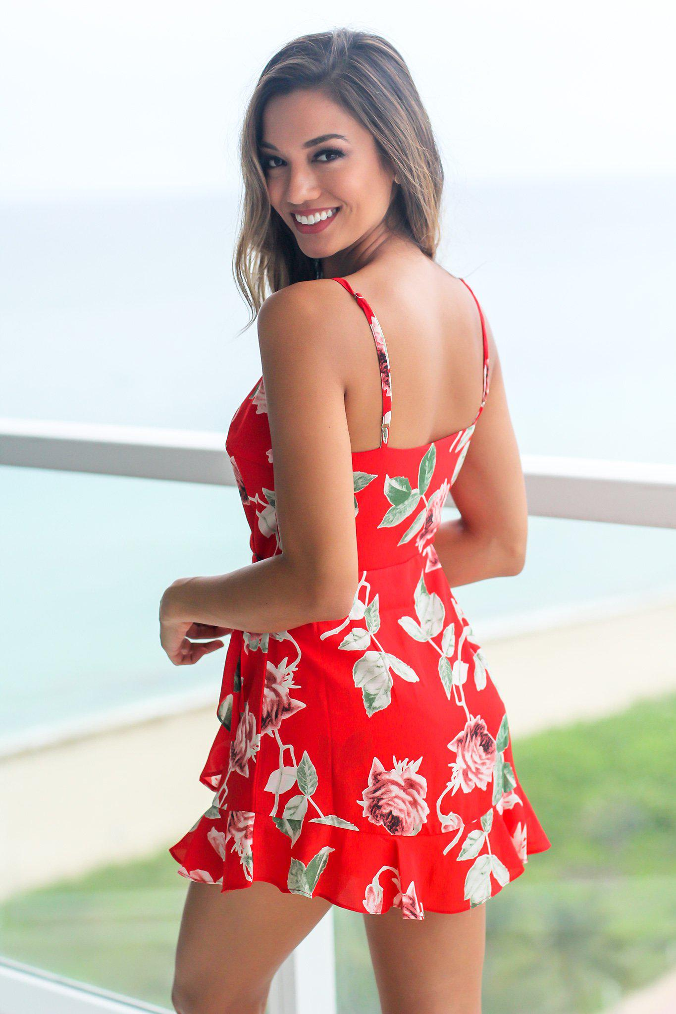 Red Floral Romper with Ruffle Detail