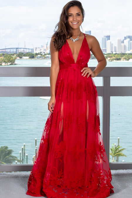 Red Floral Tulle Maxi Dress with Criss Cross Back