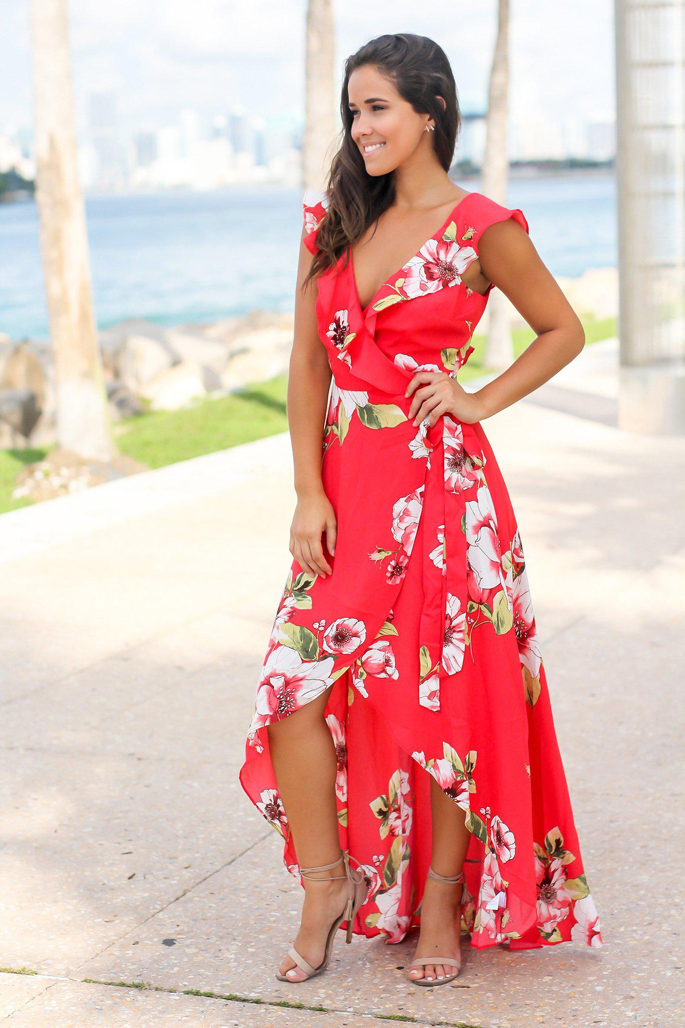 Red Floral Wrap Dress with Ruffles