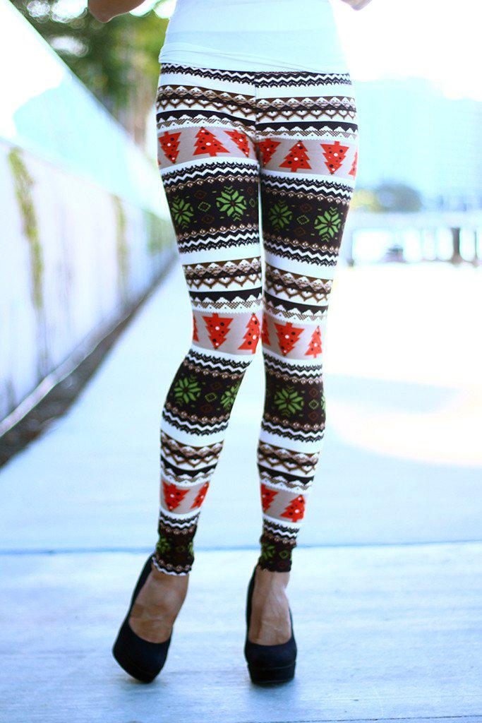brown printed christmas leggings