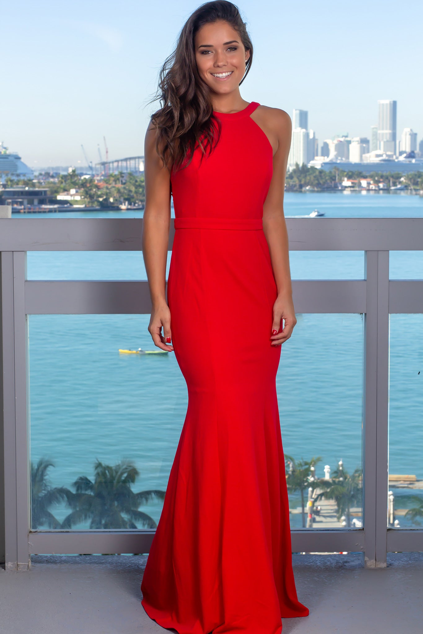 0c5e07cf548 Red Halter Neck Maxi Dress with Embroidered Detail