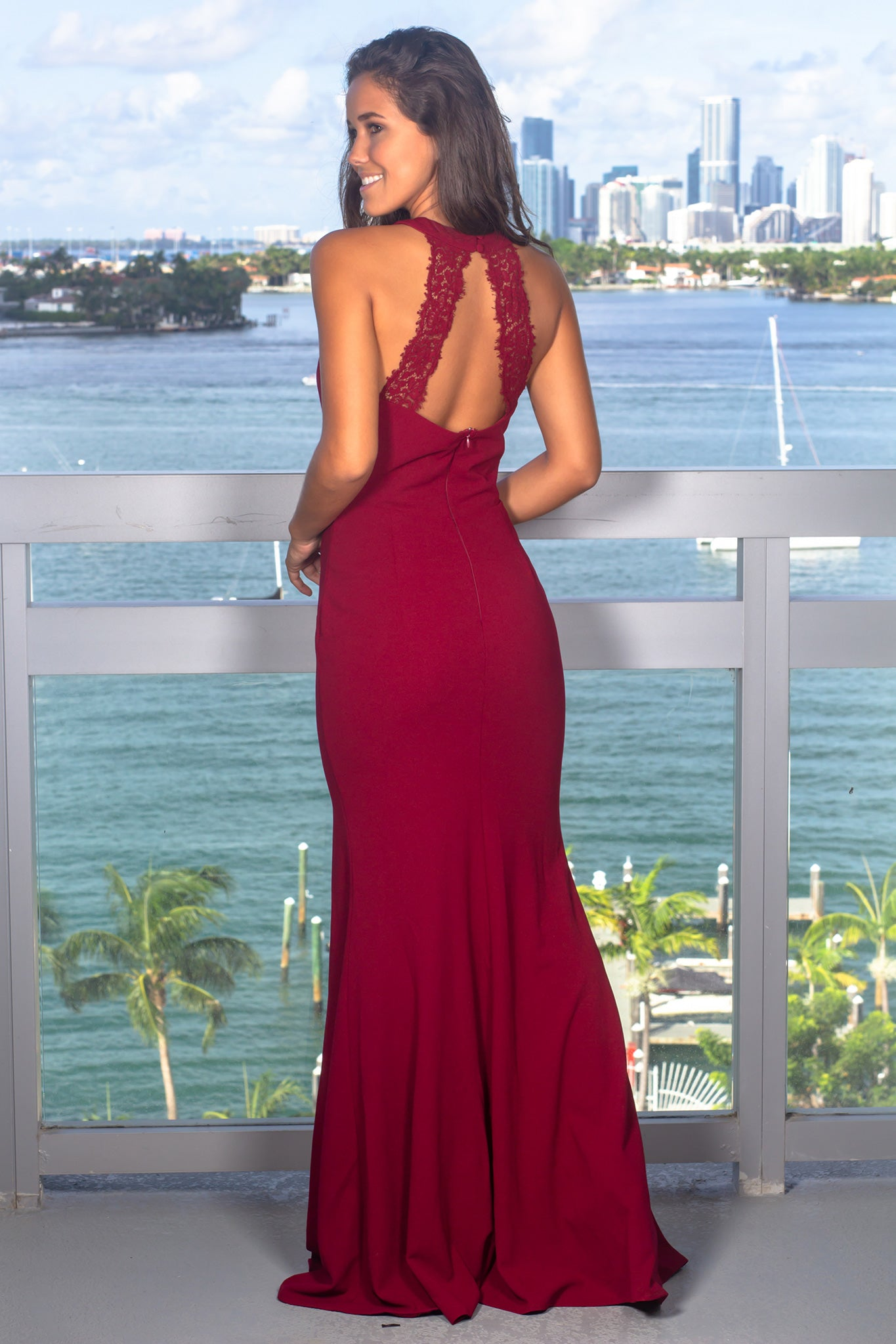Red Halter Neck Maxi Dress with Lace Detail