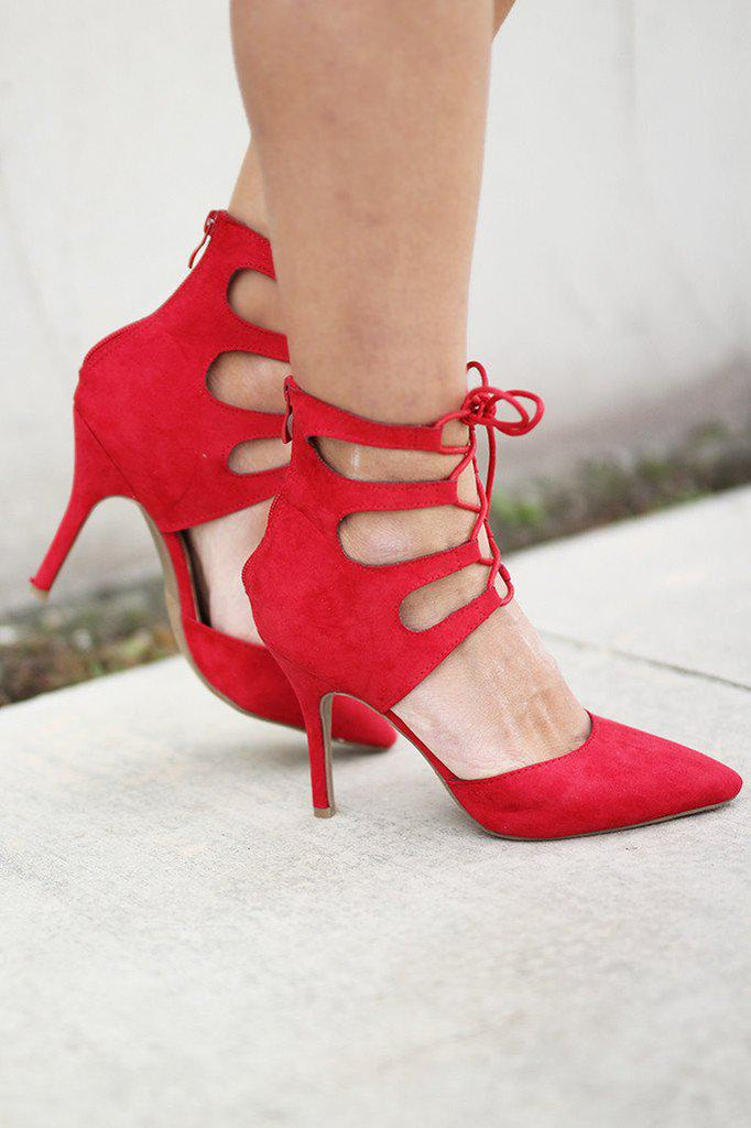 red fashion heels