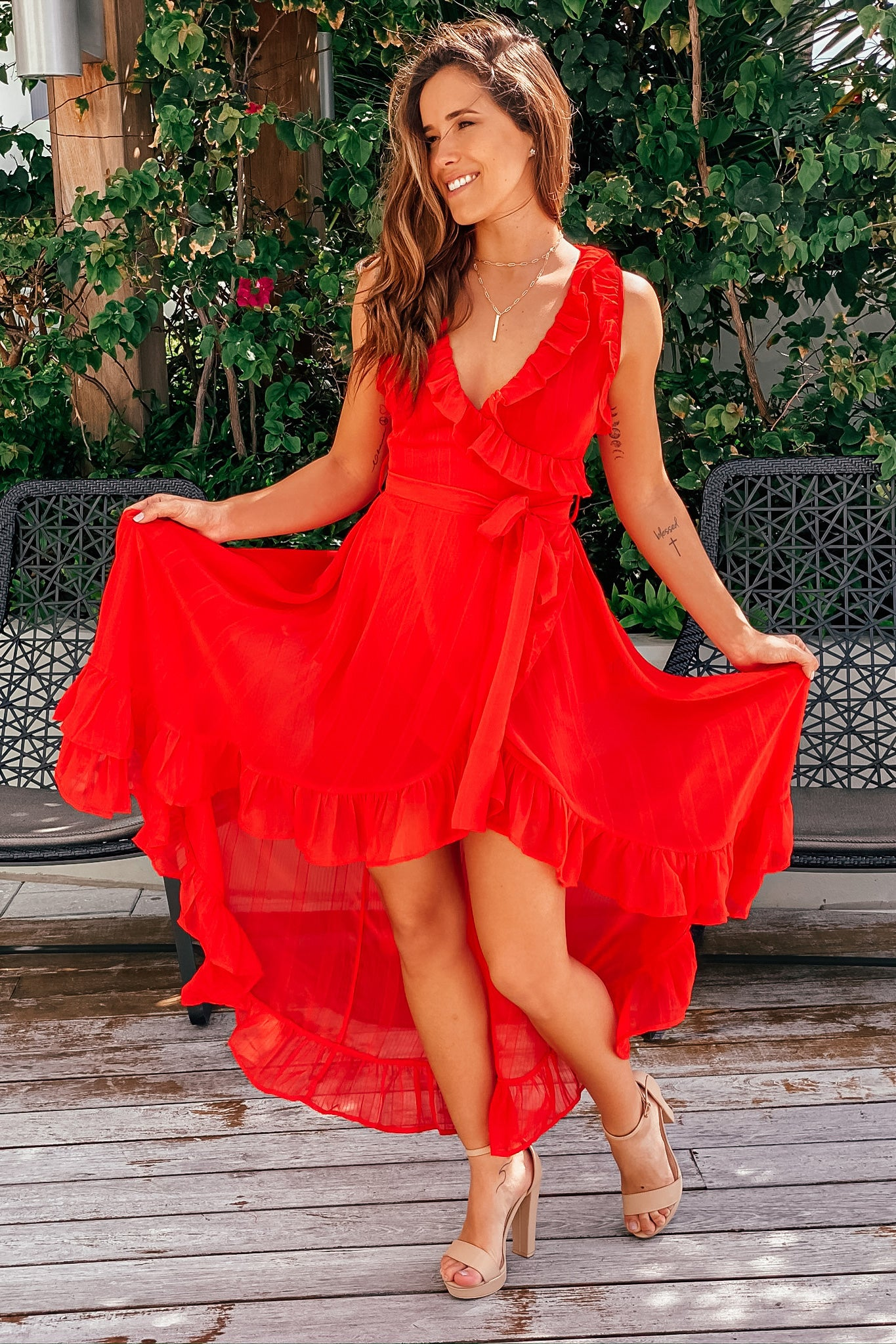 Red High Low Dress with Ruffles
