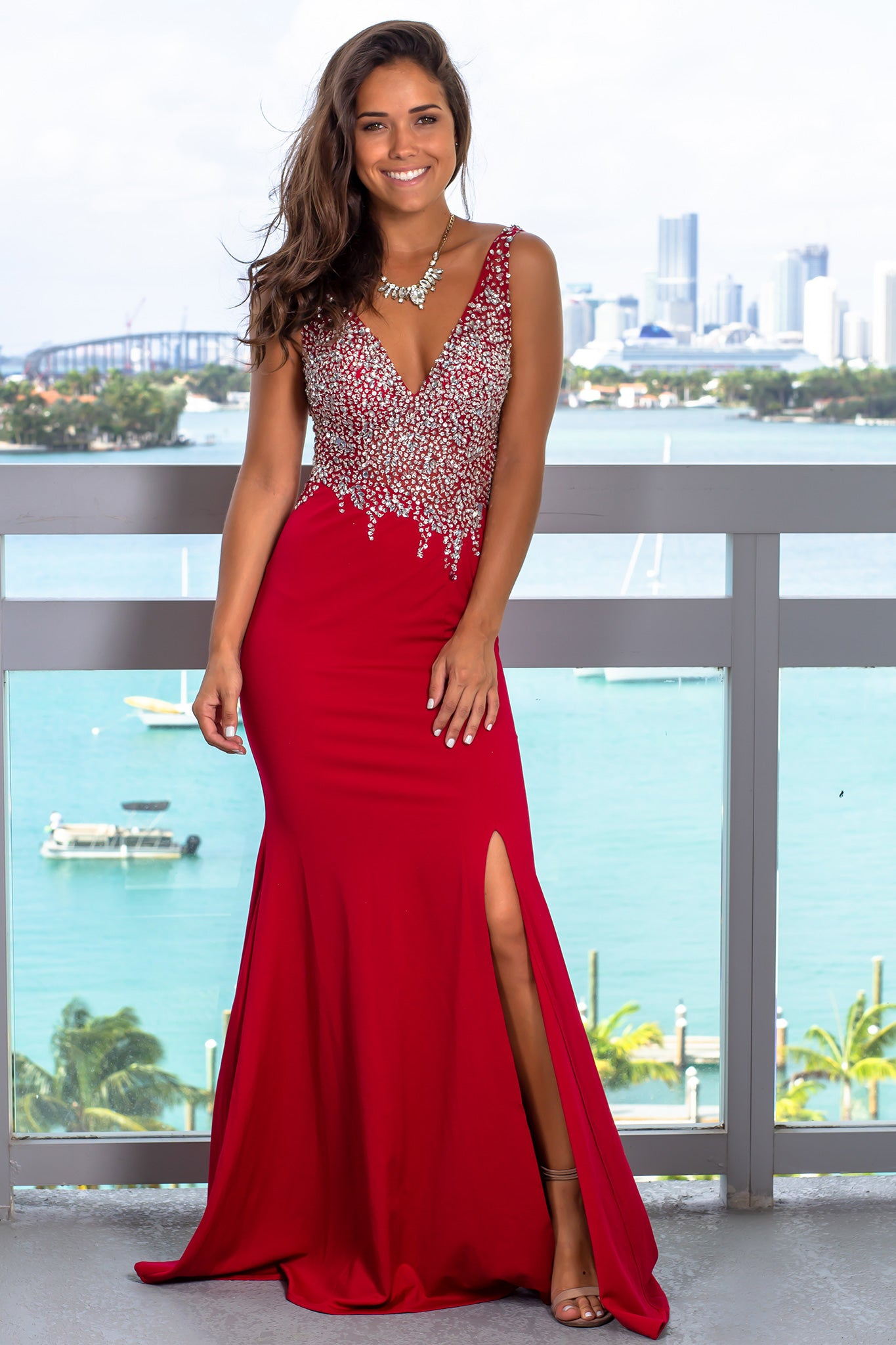 Red Jeweled Top Maxi Dress with Open Back