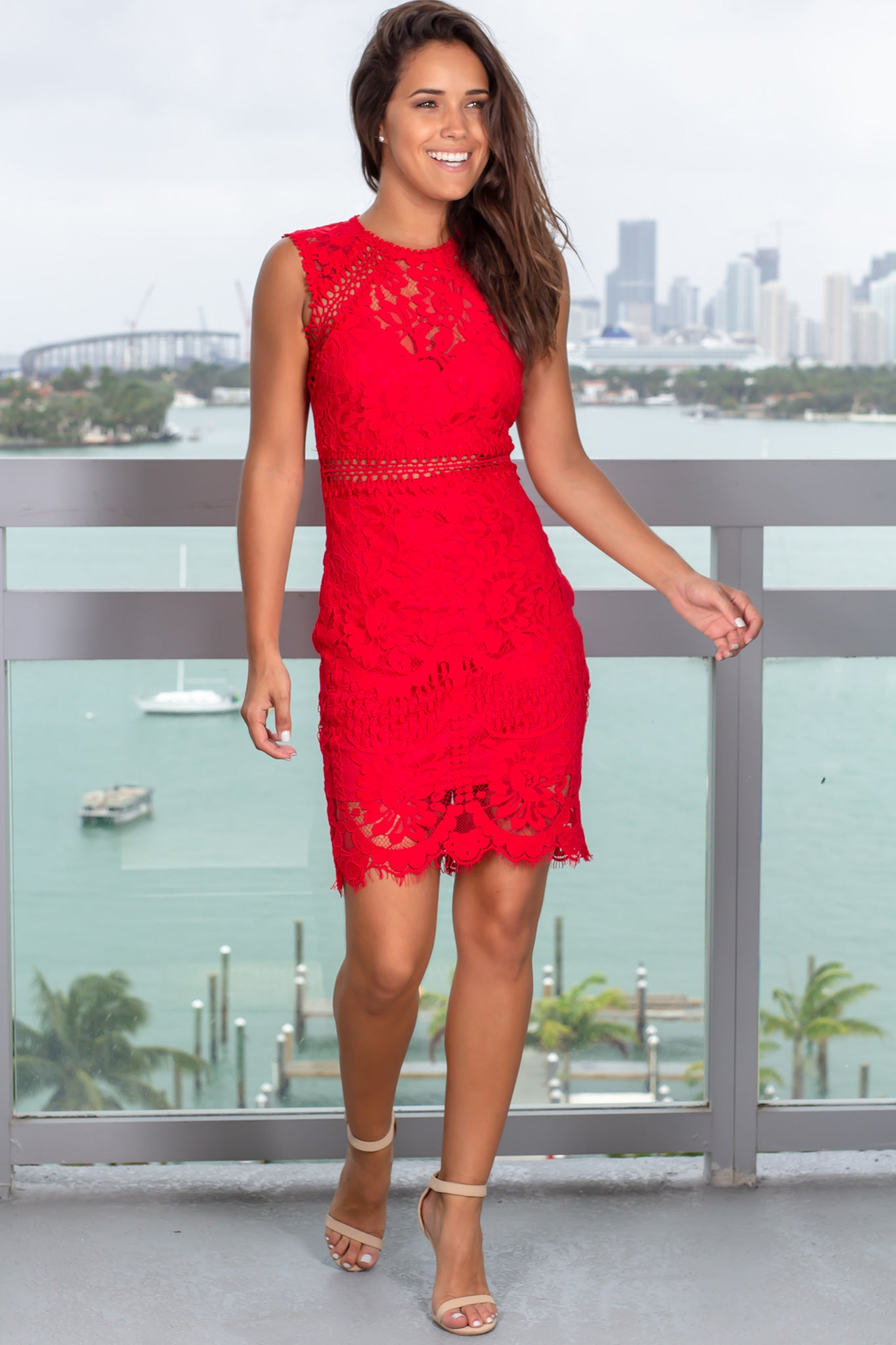 Red Lace Embroidered Short Dress