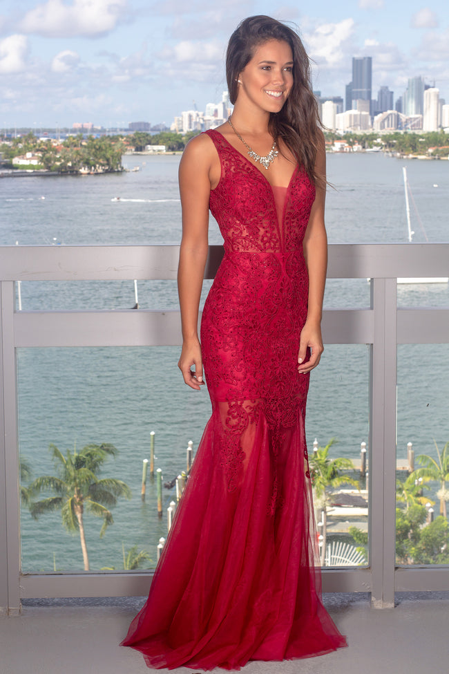 Red Lace Maxi Dress with Tulle Detail