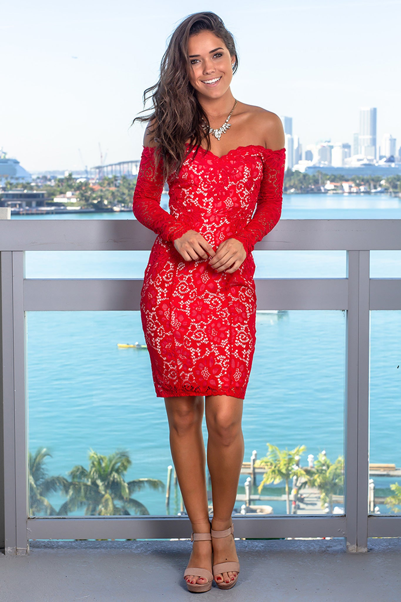 Red Lace Off Shoulder Short Dress with Long Sleeves