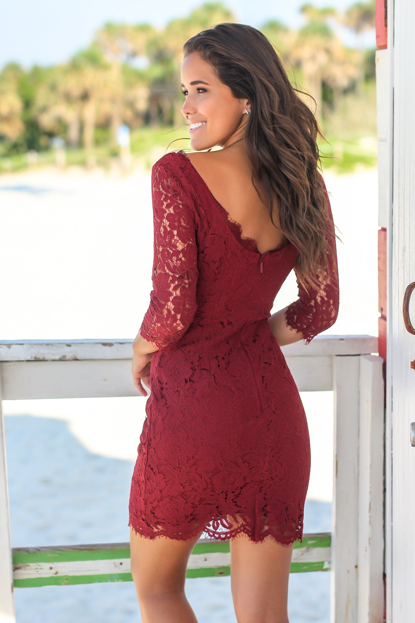 Red Lace Short Dress with 3/4 Sleeves
