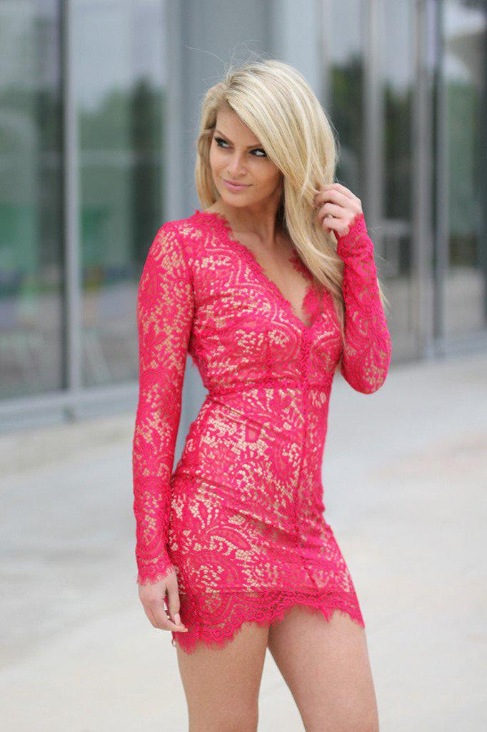 red lace short dress with open back