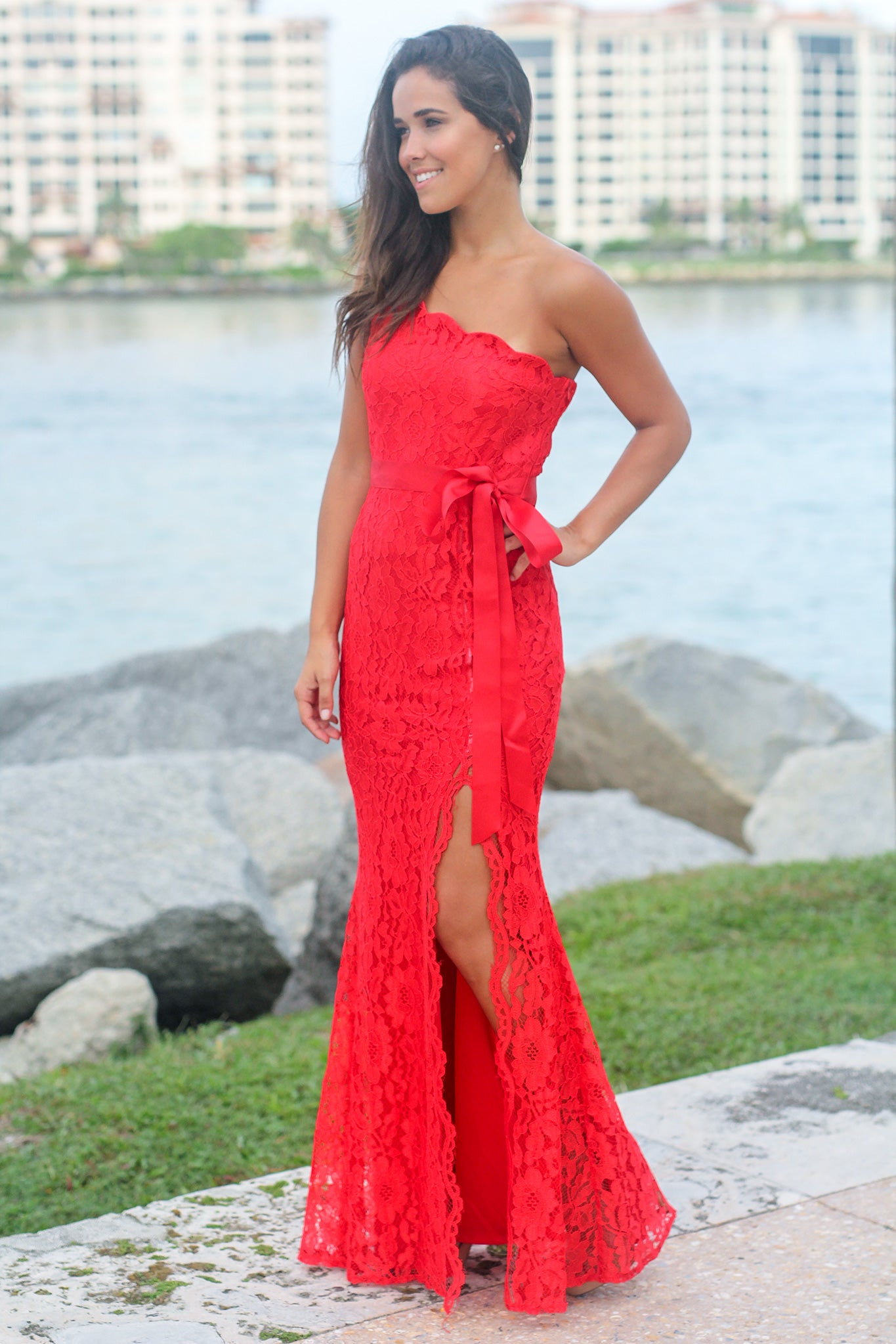 Red Lace Single Strap Maxi Dress