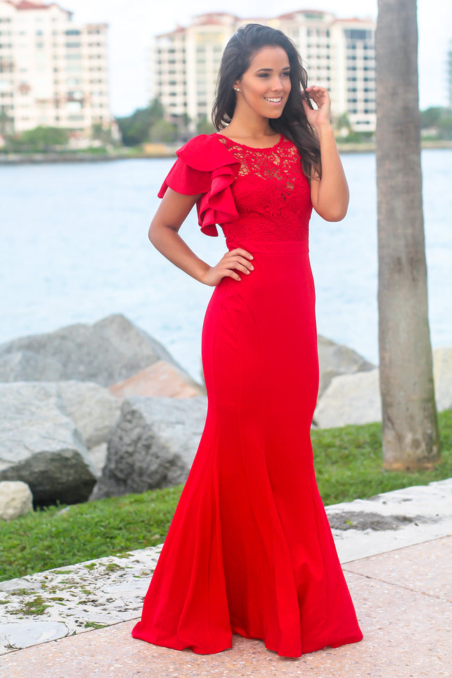 Red Maxi Dress with Crochet Top and Ruffle Sleeve