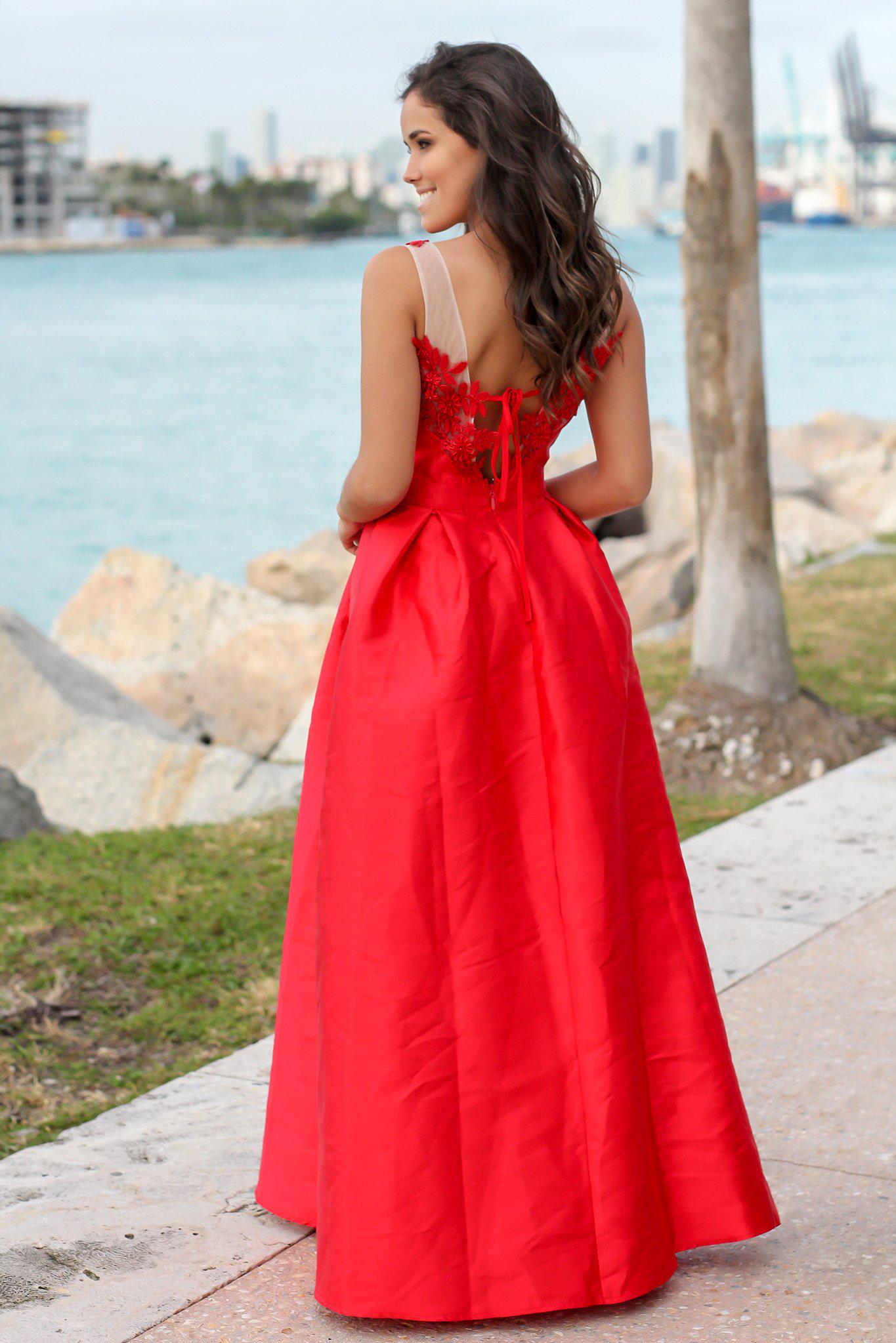 b526e636ddf Red Maxi Dress with Embroidered Detail