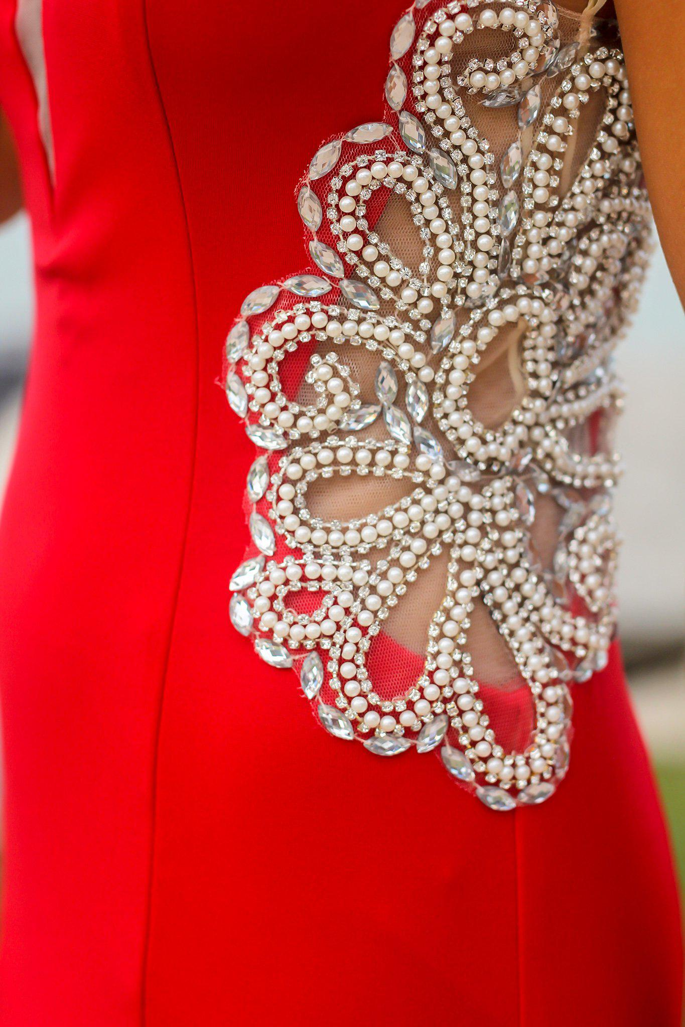 Red Maxi Dress with Jeweled Detail